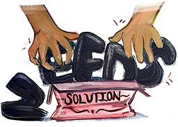 "A conceptual sketch of hands shoving the words ""needs"" into a box marked ""solutions.'"
