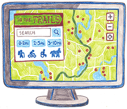 A sketch of the ToTheTrails application's user interface.