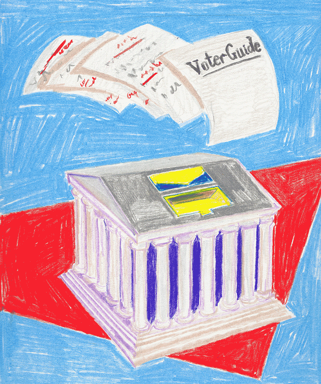 An illustration of ballots going into a ballot box.
